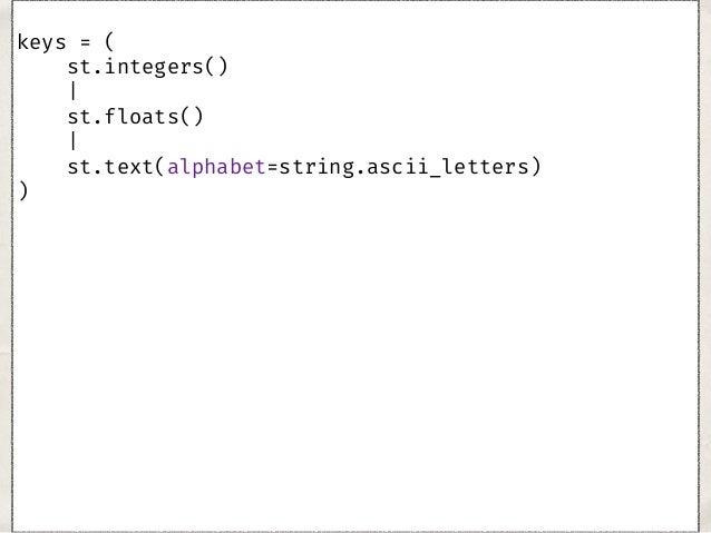 keys = st.integers()|st.floats()|st.text(alphabet= ... simple_values = keys|st.booleans()|st.none()|st.bin ... nested_val...