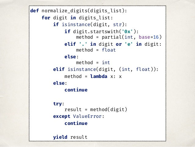 def normalize_digits(digits_list): for digit in digits_list: if isinstance(digit, str): if digit.startswith('0x'): method ...
