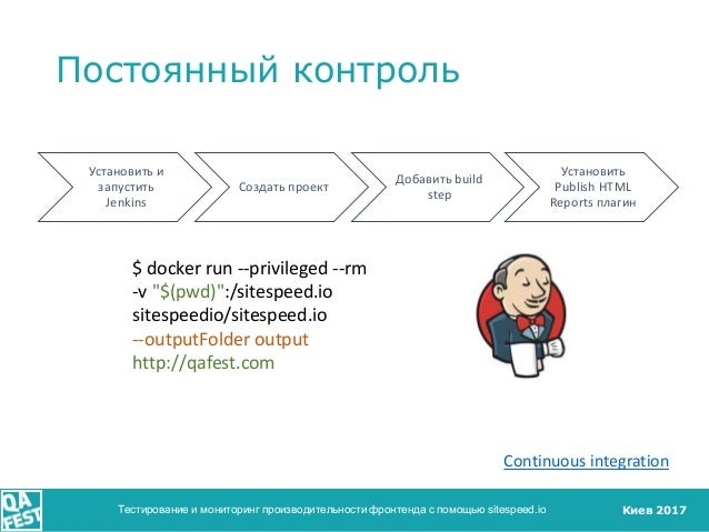 Киев 2017 Постоянный контроль Тестирование и мониторинг производительности фронтенда с помощью sitespeed.io Continuous int...