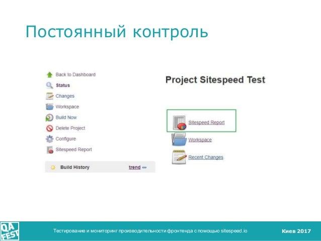 Киев 2017 Постоянный контроль Тестирование и мониторинг производительности фронтенда с помощью sitespeed.io