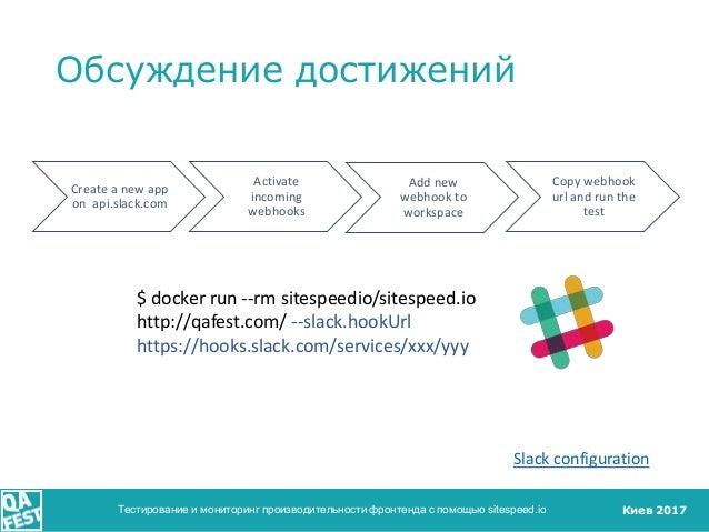 Киев 2017 Обсуждение достижений Тестирование и мониторинг производительности фронтенда с помощью sitespeed.io Create a new...