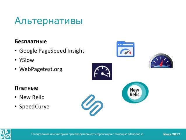 Киев 2017 Альтернативы Бесплатные • Google PageSpeed Insight • YSlow • WebPagetest.org Платные • New Relic • SpeedCurve Те...
