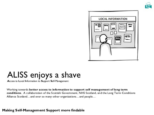   ALISS enjoys a shave  Access to Local Information to Support Self-Management  Working towards better access to informat...