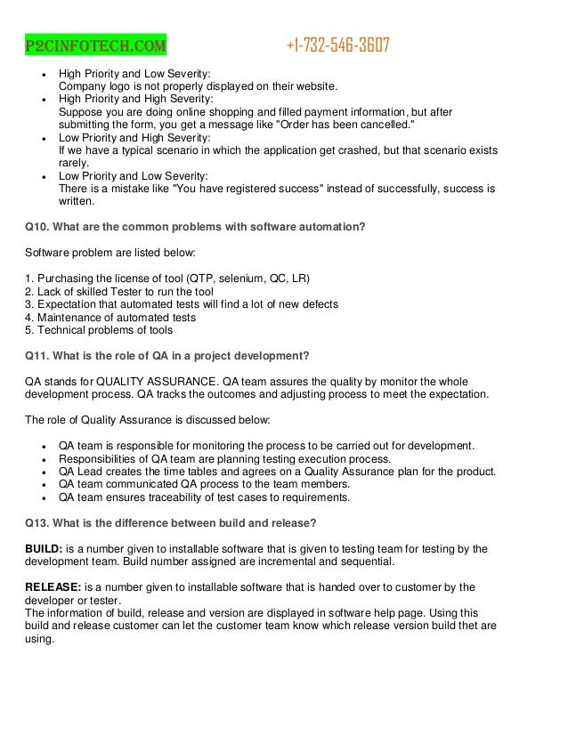 Interview questions and answers for quality assurance