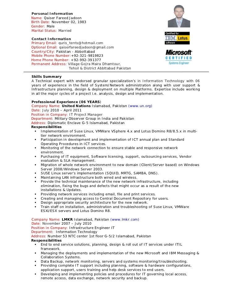 qaiser jadoon resume project manager it