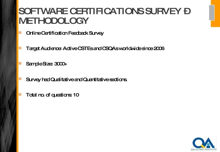 Qai Software Certifications Survey