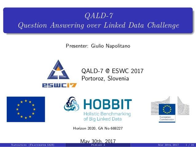 QALD-7 Question Answering over Linked Data Challenge Presenter: Giulio Napolitano QALD-7 @ ESWC 2017 Portoroz, Slovenia Ho...
