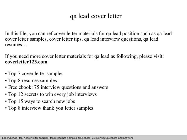 Qa Lead Cover Letter