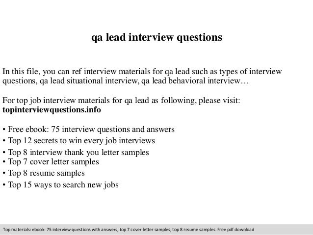 qa lead interview questions  In this file, you can ref interview materials for qa lead such as types of interview  questio...