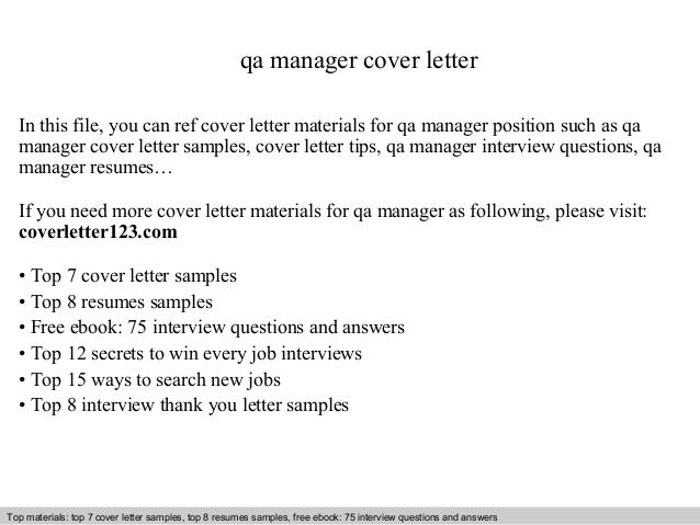 Qa Manager Cover Letter In This File You Can Ref Materials For