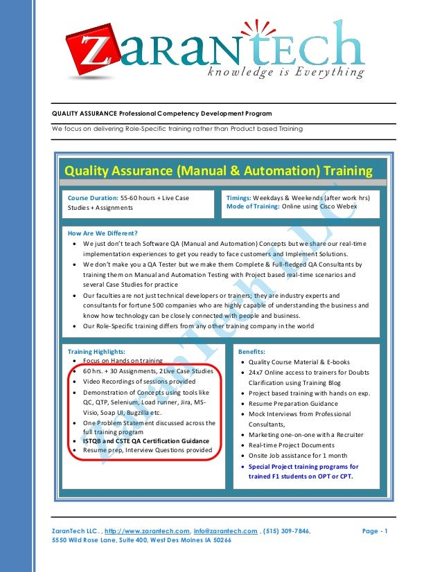 QUALITY ASSURANCE Professional Competency Development Program We focus on delivering Role-Specific training rather than Pr...