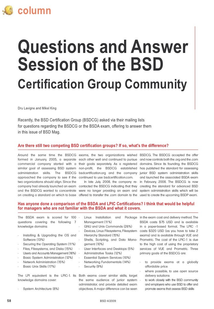 column        Questions and Answer      Session of the BSD      Certification Group Community      Dru Lavigne and Mikel K...