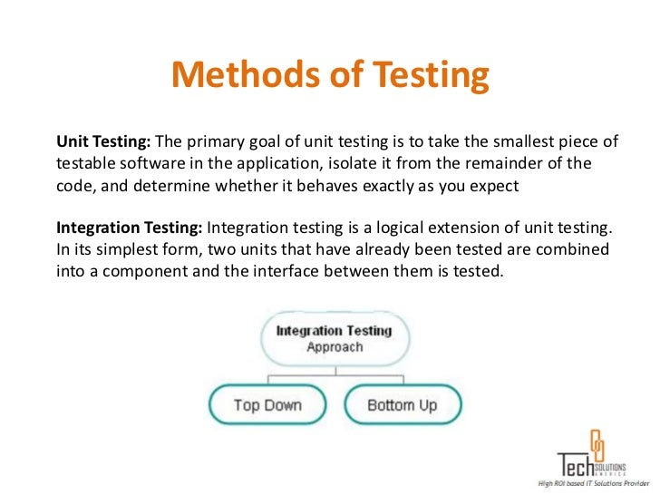 Methods of TestingUnit Testing: The primary goal of unit testing is to take the smallest piece oftestable software in the ...