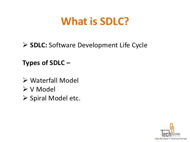 What is SDLC? SDLC: Software Development Life CycleTypes of SDLC – Waterfall Model V Model Spiral Model etc.