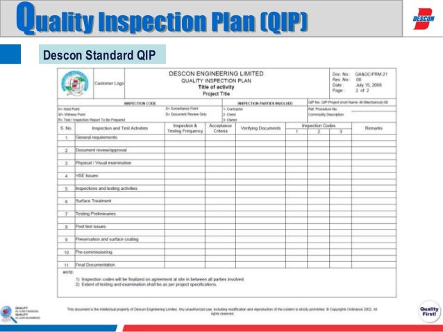 inspection test plan for construction templet pdf