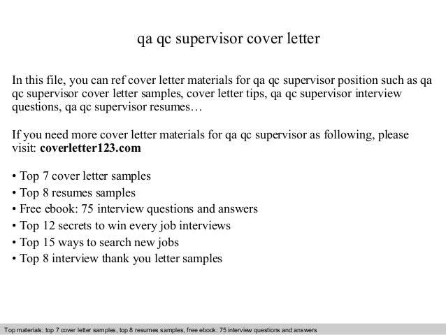 Qa qc supervisor cover letter