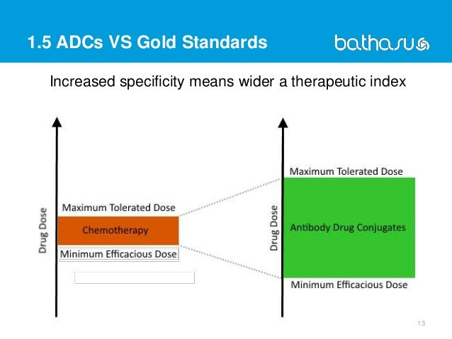 1.5 ADCs VS Gold Standards 13 Increased specificity means wider a therapeutic index