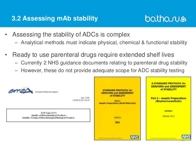 3.2 Assessing mAb stability 36 • Assessing the stability of ADCs is complex – Analytical methods must indicate physical, c...