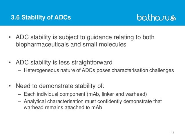 3.6 Stability of ADCs • ADC stability is subject to guidance relating to both biopharmaceuticals and small molecules • ADC...