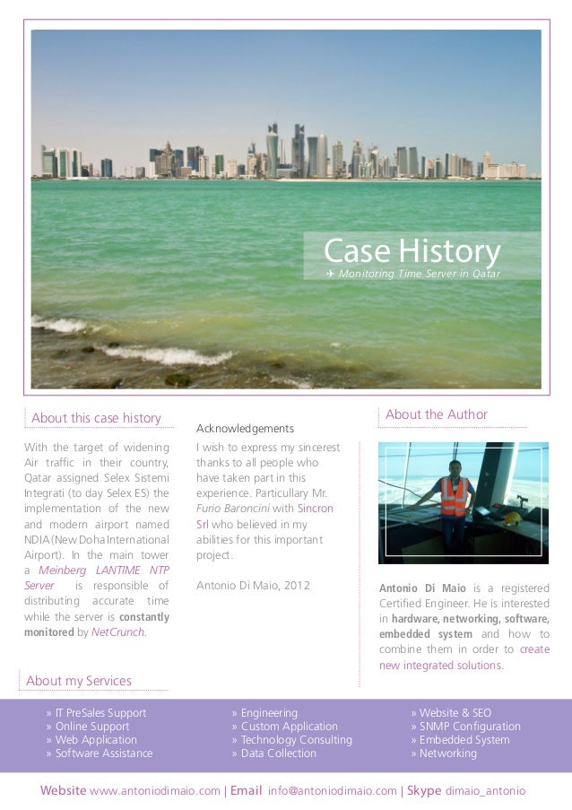 Case History  CASE HISTORY  ✈ Monitoring Time Server in Qatar  ✈ Monitoring Time Server in Qatar  About this case history ...