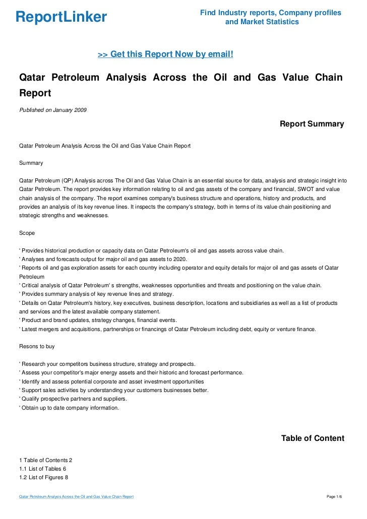 Qatar Petroleum Analysis Across the Oil and Gas Value Chain