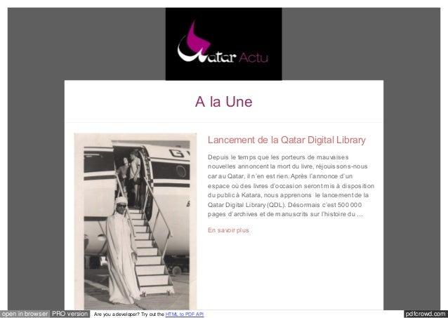 A la Une  Lancement de la Qatar Digital Library  Depuis le temps que les porteurs de mauvaises  nouvelles annoncent la mor...