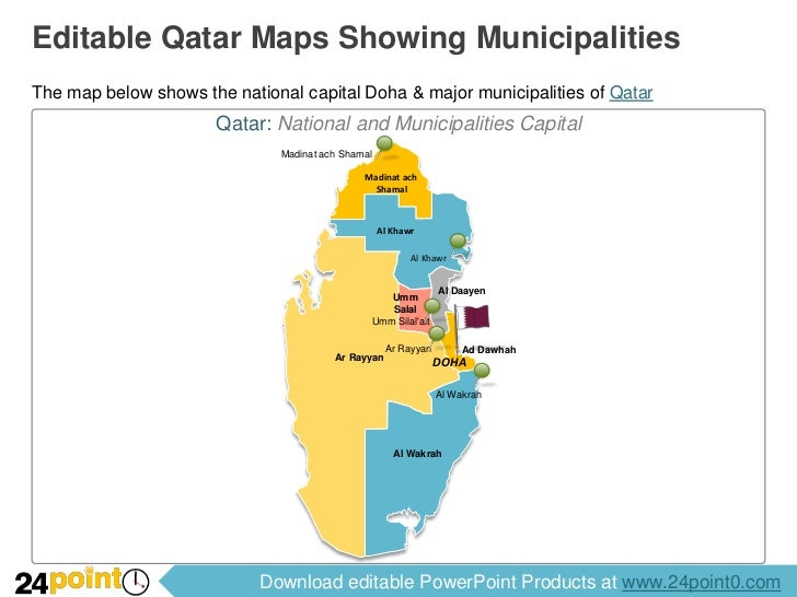 Editable Qatar Map for PPT