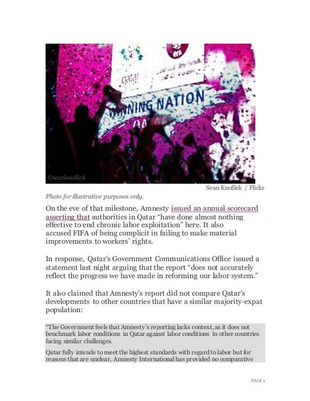 Qatar rejects amnesty criticism on anniversary of winning world cup bid Slide 3