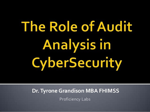 Dr.Tyrone Grandison MBA FHIMSS Proficiency Labs