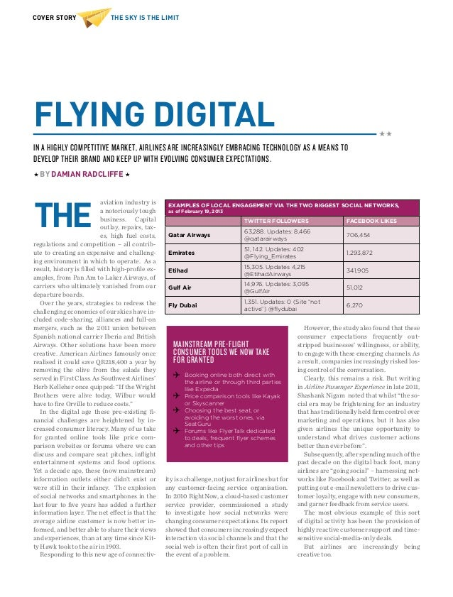 THE SKY IS THE LIMITCOVER STORYFLYING DIGITALaviation industry isa notoriously toughbusiness. Capitaloutlay, repairs, tax-...