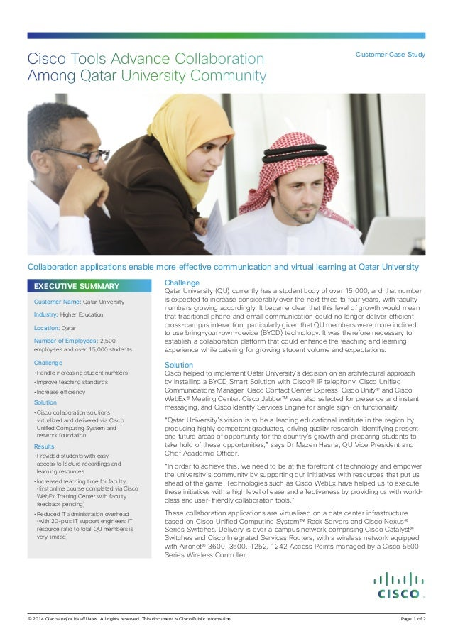 EXECUTIVE SUMMARY Challenge Qatar University (QU) currently has a student body of over 15,000, and that number is expected...