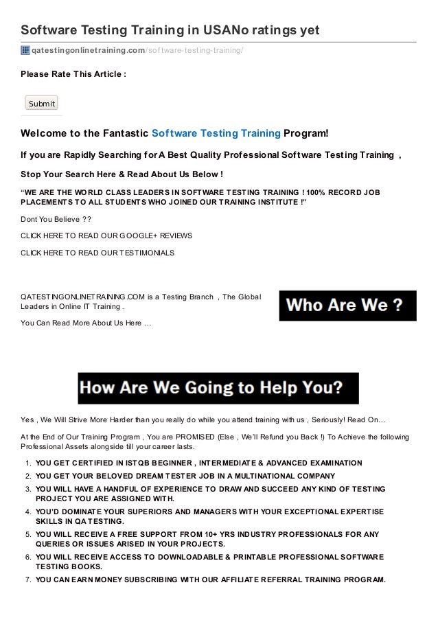Software Testing Training in USANo ratings yet qatestingonlinetraining.com /sof tware-testing-training/  Please Rate T his...