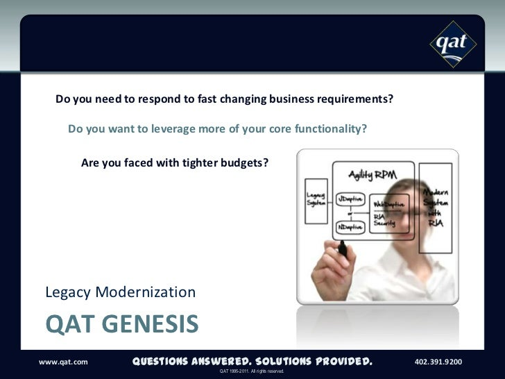 QAT Genesis<br />Legacy Modernization<br />Questions Answered. Solutions Provided.<br />Do you need to respond to fast cha...