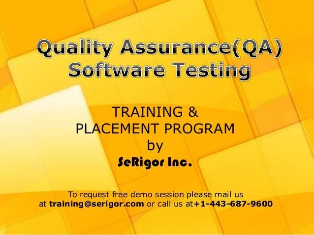 http://www.showtheropes.com/ +1-443-687-9600 | training@serigor.com TRAINING & PLACEMENT PROGRAM by SeRigor Inc. To reques...