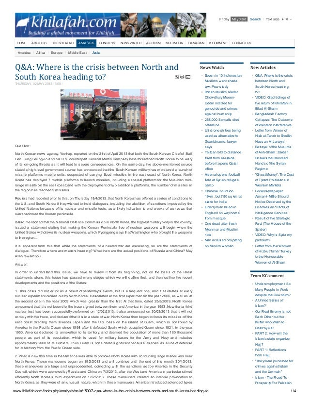 www.khilafah.com/index.php/analysis/asia/15907-qaa-where-is-the-crisis-between-north-and-south-korea-heading-to 1/4America...