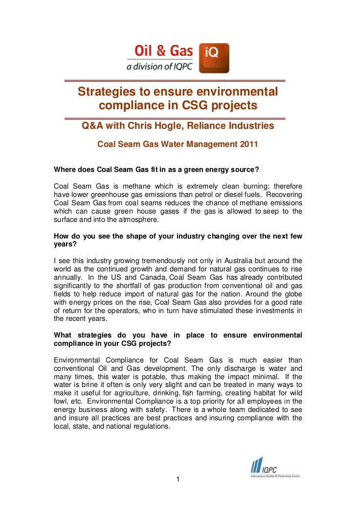 Strategies to ensure environmental           compliance in CSG projects         Q&A with Chris Hogle, Reliance Industries ...