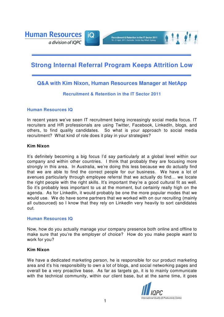 Strong Internal Referral Program Keeps Attrition Low     Q&A with Kim Nixon, Human Resources Manager at NetApp            ...