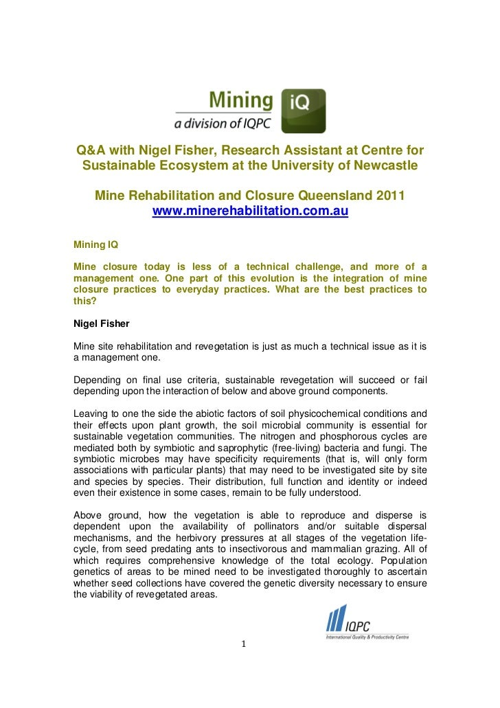 Q&A with Nigel Fisher, Research Assistant at Centre for Sustainable Ecosystem at the University of Newcastle     Mine Reha...