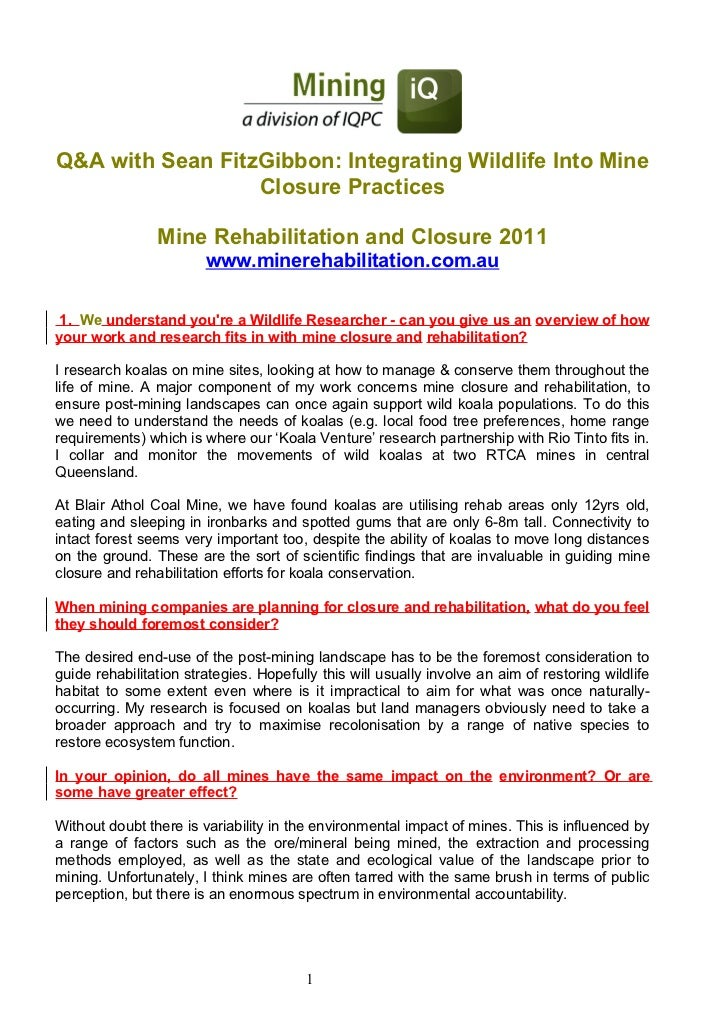 Q&A with Sean FitzGibbon: Integrating Wildlife Into Mine                  Closure Practices                Mine Rehabilita...