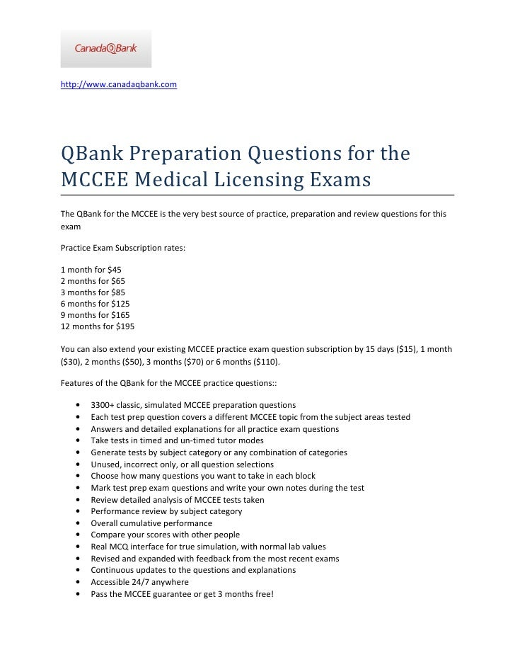 Q Bank Preparation Questions for the MCCEE Medical Licensing