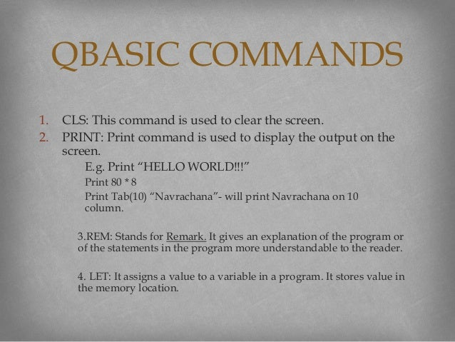 Qbasic tutorial commandkeywords in qbasic and their functions 7 1 fandeluxe Image collections