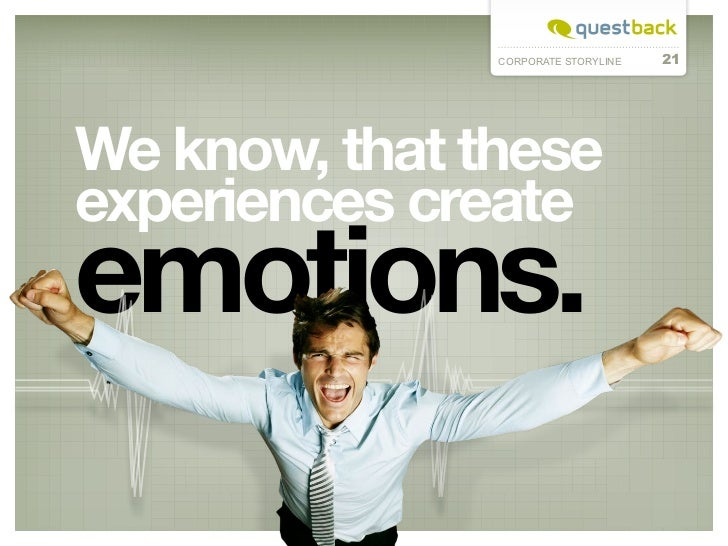 CORPORATE STORYLINE   21We know, that theseexperiences createemotions.