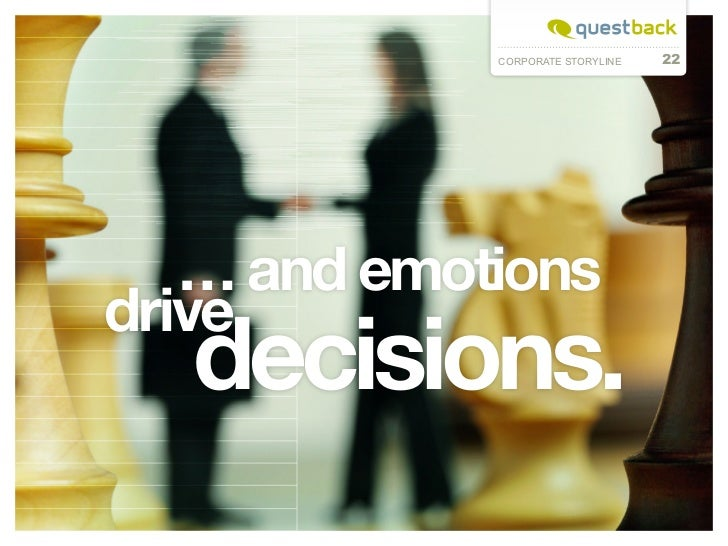 CORPORATE STORYLINE   22     … and emotions drive decisions.