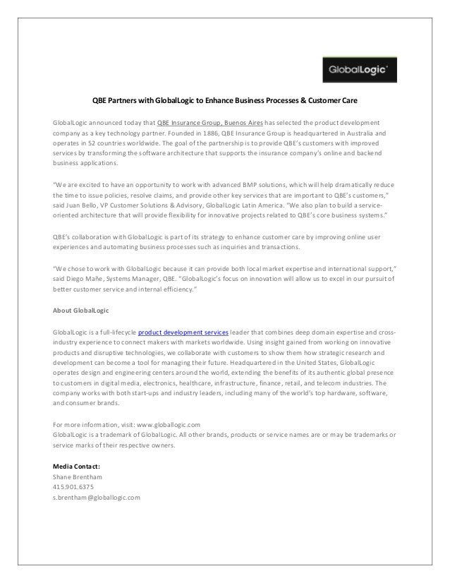 QBE Partners with GlobalLogic to Enhance Business Processes & Customer Care GlobalLogic announced today that QBE Insurance...