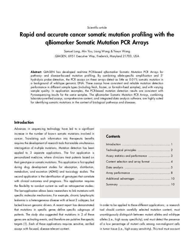 Scientific article  Rapid and accurate cancer somatic mutation profiling with the qBiomarker Somatic Mutation PCR Arrays S...