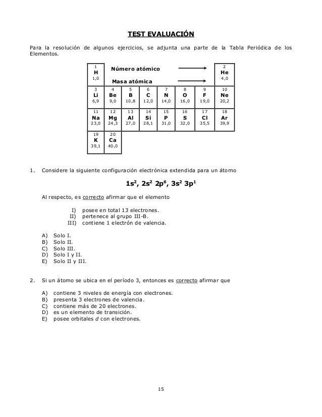 Gua tabla periodica la opcin correcta es la b 15 urtaz Image collections