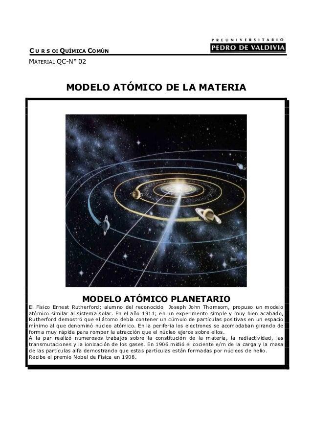 C U R S O: QUÍMICA COMÚNMATERIAL QC-N° 02              MODELO ATÓMICO DE LA MATERIA                    MODELO ATÓMICO PLAN...