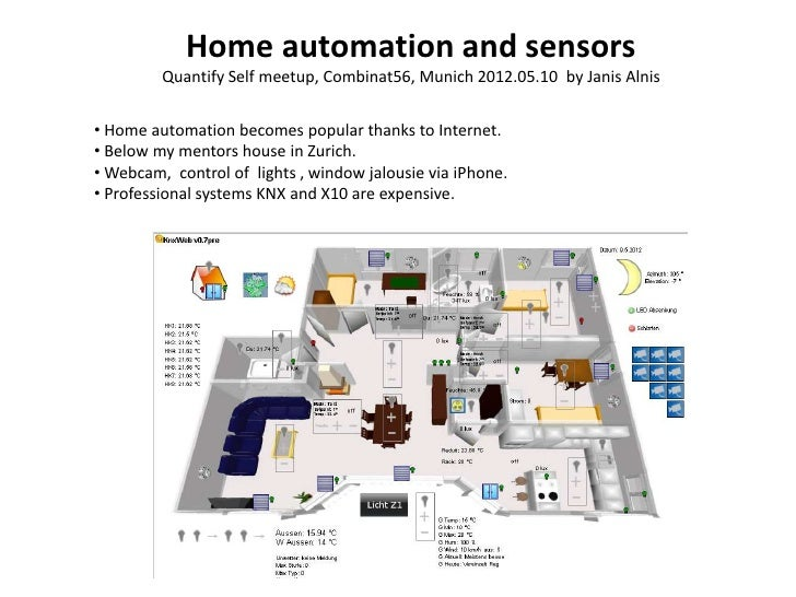 Home automation and sensors         Quantify Self meetup, Combinat56, Munich 2012.05.10 by Janis Alnis• Home automation be...