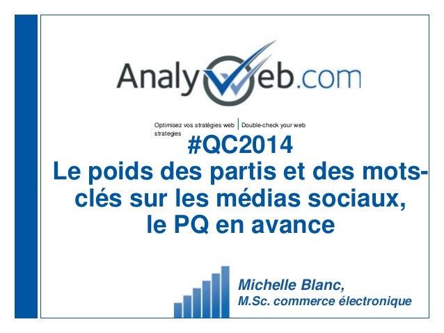 Optimisez vos stratégies web |Double-check your web strategies #QC2014 Le poids des partis et des mots- clés sur les média...