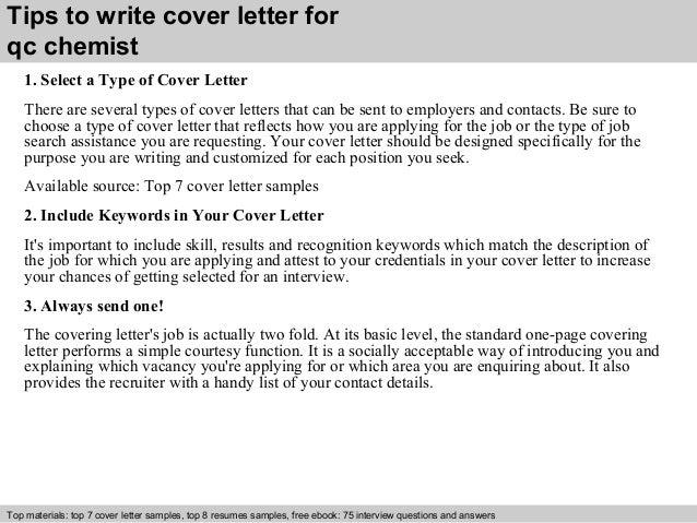 chemist cover letter sample